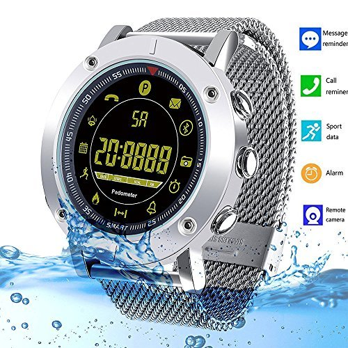 Bluetooth Smart Watch Fitness Tracker IP68 Waterproof Smart Bracelet with Pedometer Stopwatch SMS Call Notification Camera Remoter for Android iPhone iOS Samsung Sony LG HTC Google Kids Men