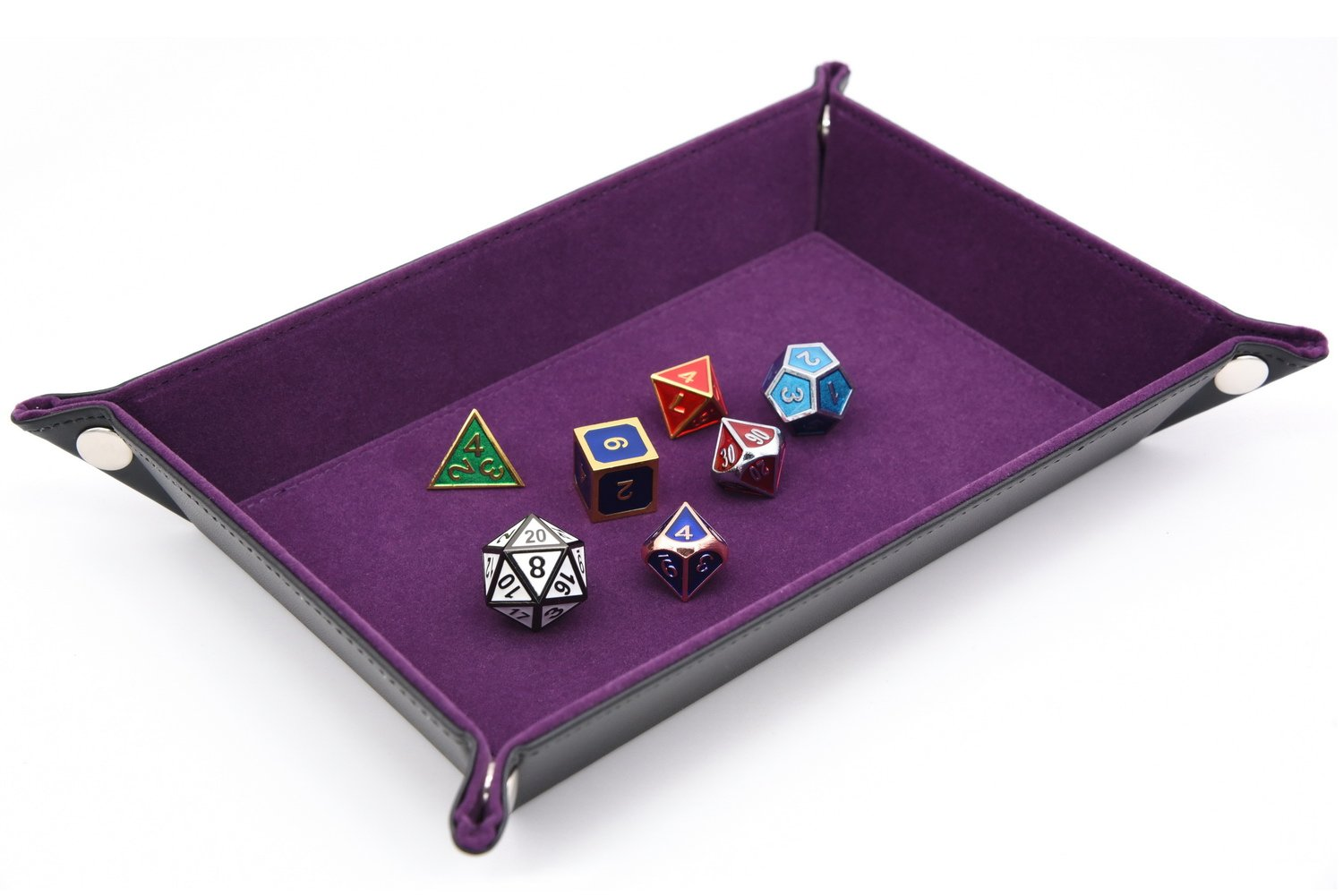 Dice Holder PU Leather Folding Rectangle Tray w/purple Velvet for RPG, DnD and Other Table Games