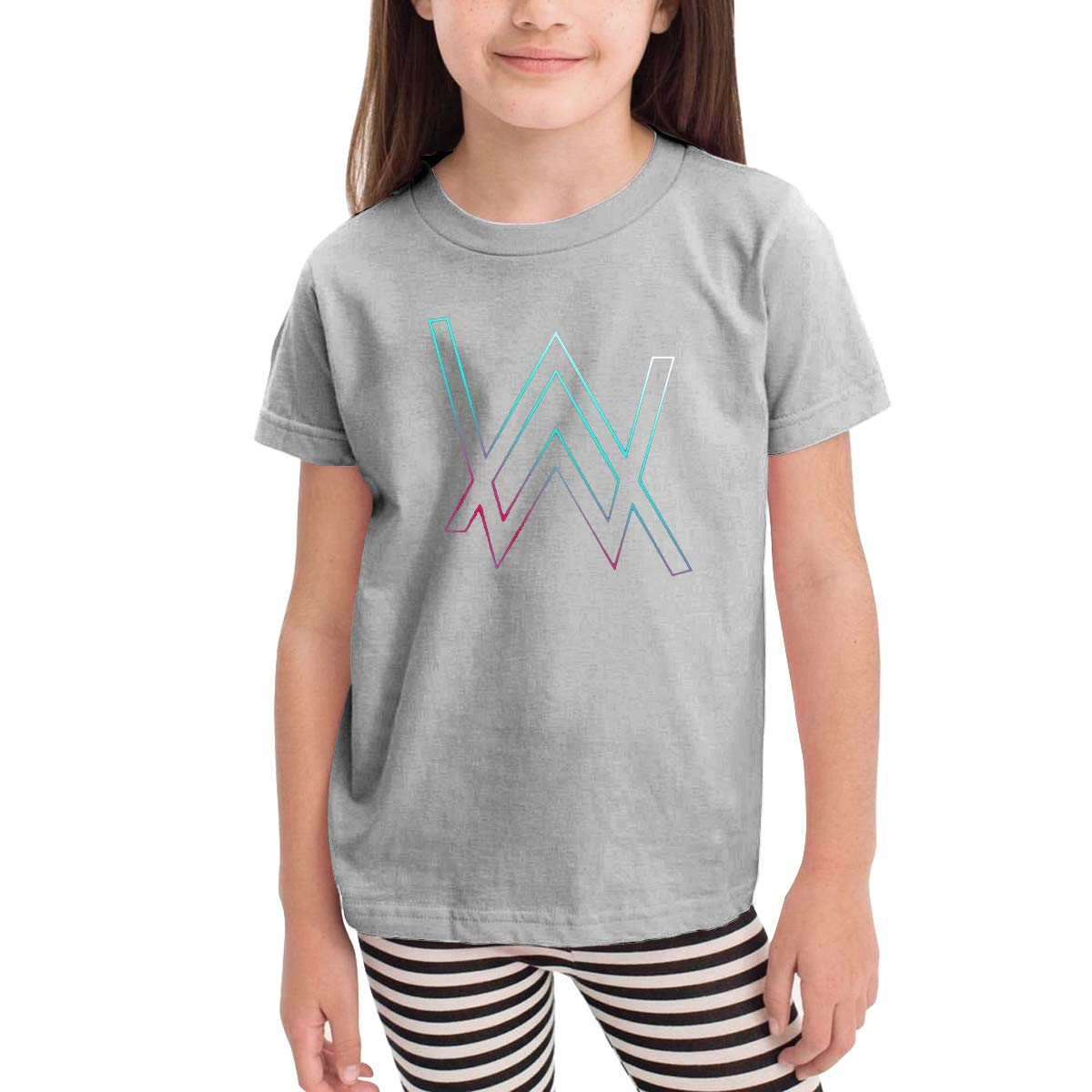 2-6 Year Old Childrens Short Sleeve Unique Sleek Minimalist New Short-Sleeved T-Shirt Alan Walker Logo Gray