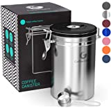 Coffee Gator Coffee Canister Stainless Steel Coffee Container - Fresher Beans and Grounds for Longer - Date-Tracker, CO2-Release Valve and Measuring Scoop - Large, Silver