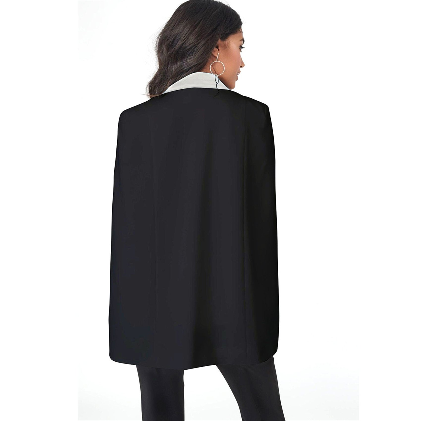 Cloak Poncho Cape Style Split Slit Long Sleeve Deep V Neck One Button Pocket Colorblock Blazer Jacket Top Black L by Arctic Cubic (Image #2)