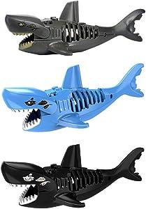 Auch 3Pcs Shark Building Bricks Shark Action Figure Educational Playset for Kids Boys and Girls