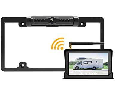 FOOKOO Wireless Backup Camera and Monitor Kit 5 HD Screen License Plate Camera with Frame IP69K Waterproof Rear View Camera with Parking Lines 170 Viewing Angle Universal for All Cars