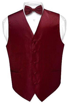 5b835c1b69 Men's Dress Vest & BOWTie BURGUNDY Vertical Striped Design Bow Tie Set ...