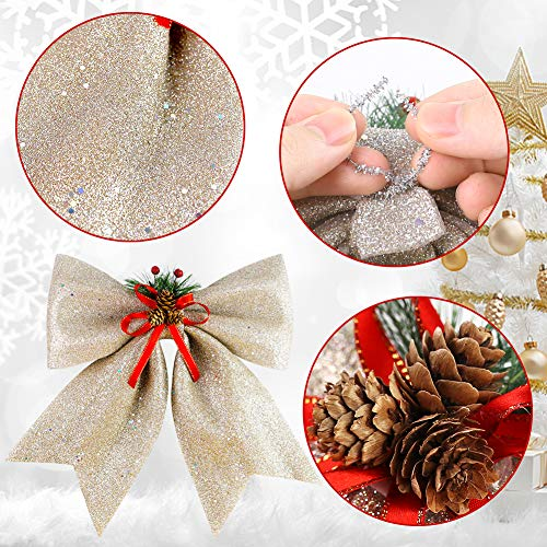 BigOtters Christmas Decorative Bows, 14.5 x 13 Inches Large Glitter Bows Sparkly Bows with Pine Cones for Wreath Garland Treetopper Xmas Tree Ornament Home Wall Door Decor, Champagne