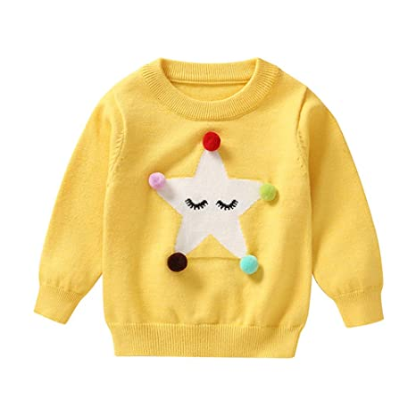 Baby Kid Outfits,Fineser Adorable Toddler Infant Baby Girls Boy Five-Pointed Star Hair Ball Sweater Tops Shirt 3 Color
