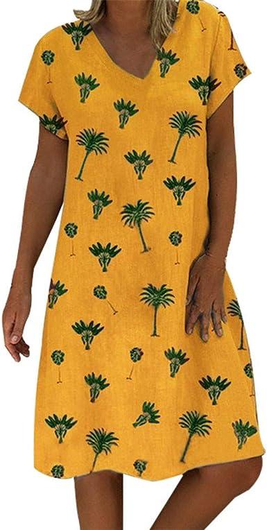 Vestido Mujer algodón y Lino Vestido Casual de Manga Corta con Cuello en V para Mujer Vestido Suelto con Estampado de túnica y Rodillas para Mujer Vestidos de Fiesta ...