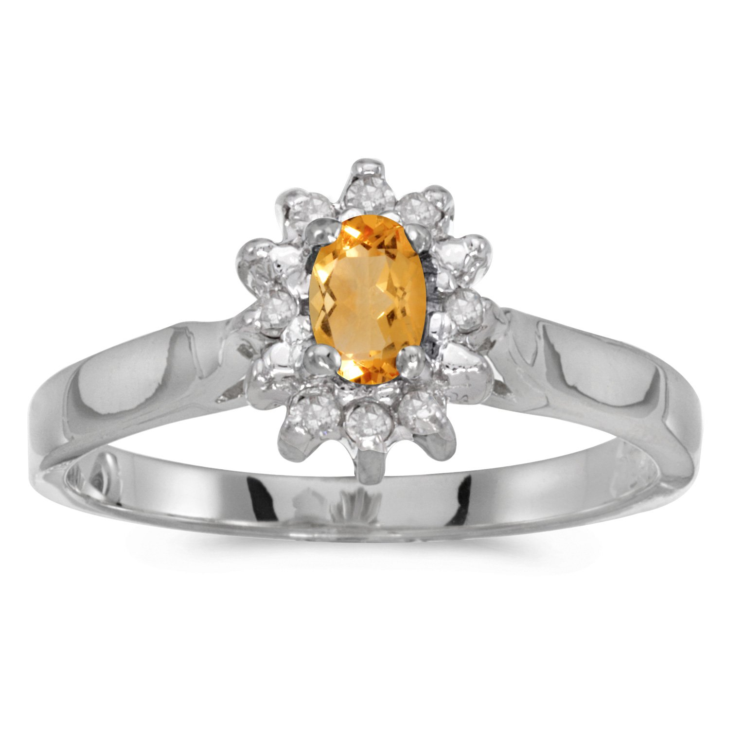 14k White Gold Oval Citrine And Diamond Ring (Size 9)