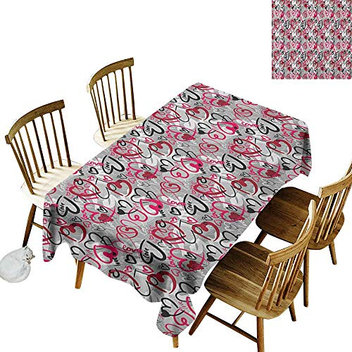 kangkaishi 3D Printed Long Tablecloth Desktop Protection pad Romantic Random Hand Drawn Style Hearts and Love Words Cute Crazy Romance Valentines W14 x L108 Inch Multicolor -