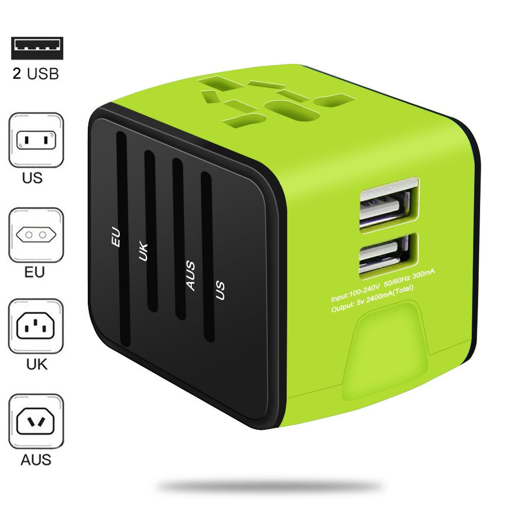 Universal Travel Adapter, VOGTEL All-in-one International Power Adapter with 2.4A Dual USB, European Adapter Travel Power Adapter Wall Charger for UK, EU, AU, Asia Covers 150+Countries(Green)
