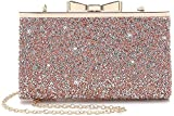 Yuenjoy Womens Rhinestone Clutch Purse Evening Bags with Bow Closure (Champagne)