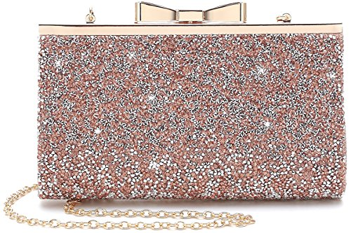 Yuenjoy Womens Rhinestone Clutch Purse Evening Bags with Bow Closure - Clutch Mini Bow