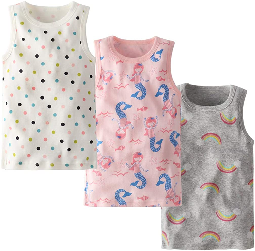 Tanks & Camis Clothing, Shoes & Jewelry Allmeingeld Girls Assorted Tanks  Tops 100% Cotton Underwear 3 Pack for 1-8 Years