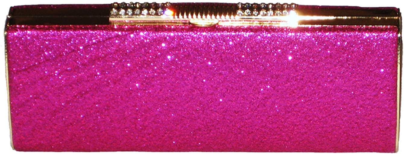 2316 Metalic Sparkle Clutch Diamante Tube Bag Rose