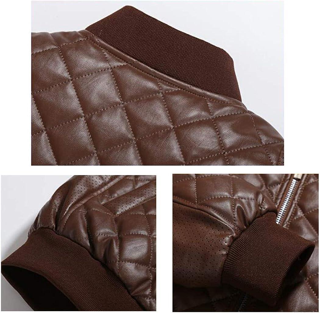JEWOSOR Mens Spring Autumn PU Leather Jacket Fashion Breathable Locomotive Jacket