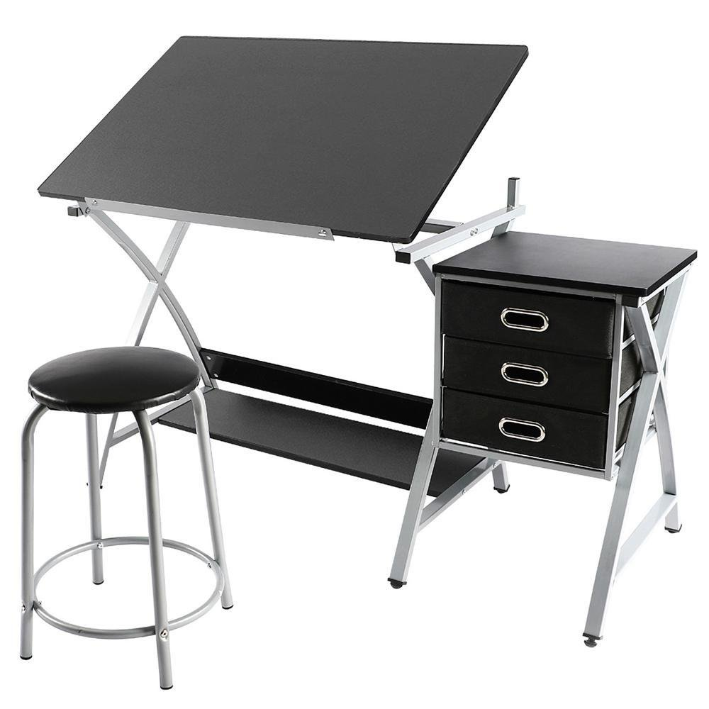 Yaheetech Drawing Drafting Table Craft Versatile Desk Tabletop Tilted Adjustable Folding Board Art Workstation w/Stool and 3 Storage Drawers