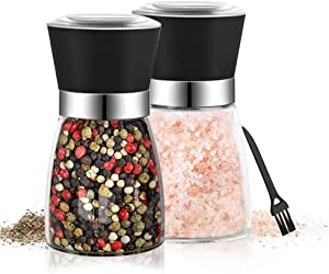 Premium Salt and Pepper Grinder Set - Refillble Coarseness Adjustable Salt and Pepper Mill Shakers Ceramic Spice Grinder with a Cleaning Brush of BonPlat (2PCS/Set) (Black)