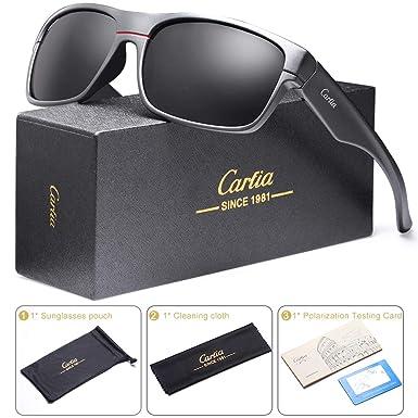 dfa03b7dcb4 Carfia Men s Sunglasses Polarized Sunglasses Sports Eyewear for Driving  Fishing Golf UV400 Protection