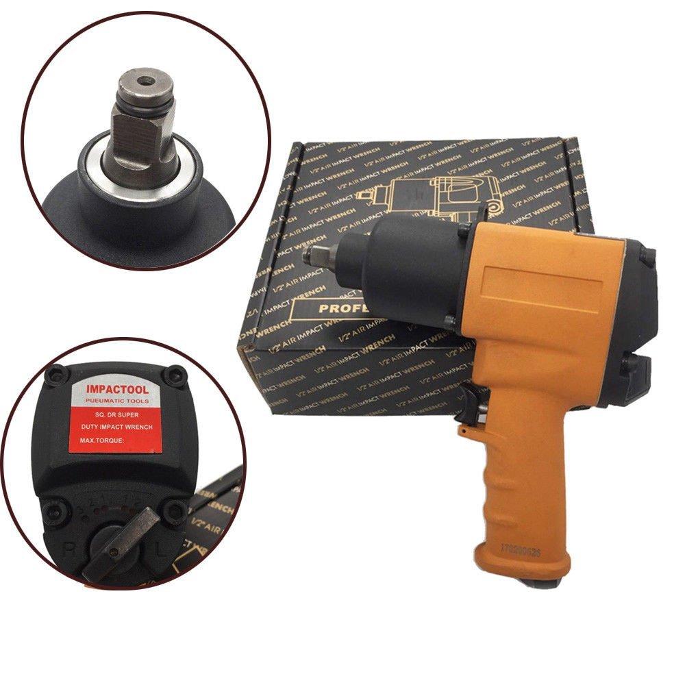 GHP 1/2'' Drive 1/4'' NPT 7CFM 8000RPM 90PSI Steel & Aluminum Air Impact Wrench Gun