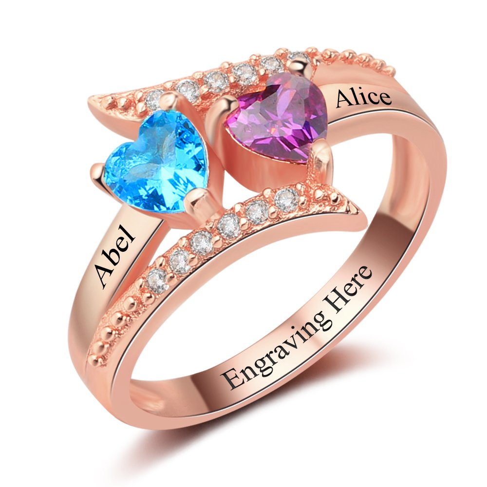 Diamondido Personalized Family Mother Rings with 2 Simulated Birthstone Custom Names Handmade Promise Ring for Her (Rose Gold, 8)