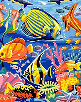 Jack West Color Paint Acrylic Painting DIY Oil Painting Paint by Numbers Kit for Adults Kids and Beginners Crafts Projects for Home Decoration 16 by 20inch (Colorful Beetle)