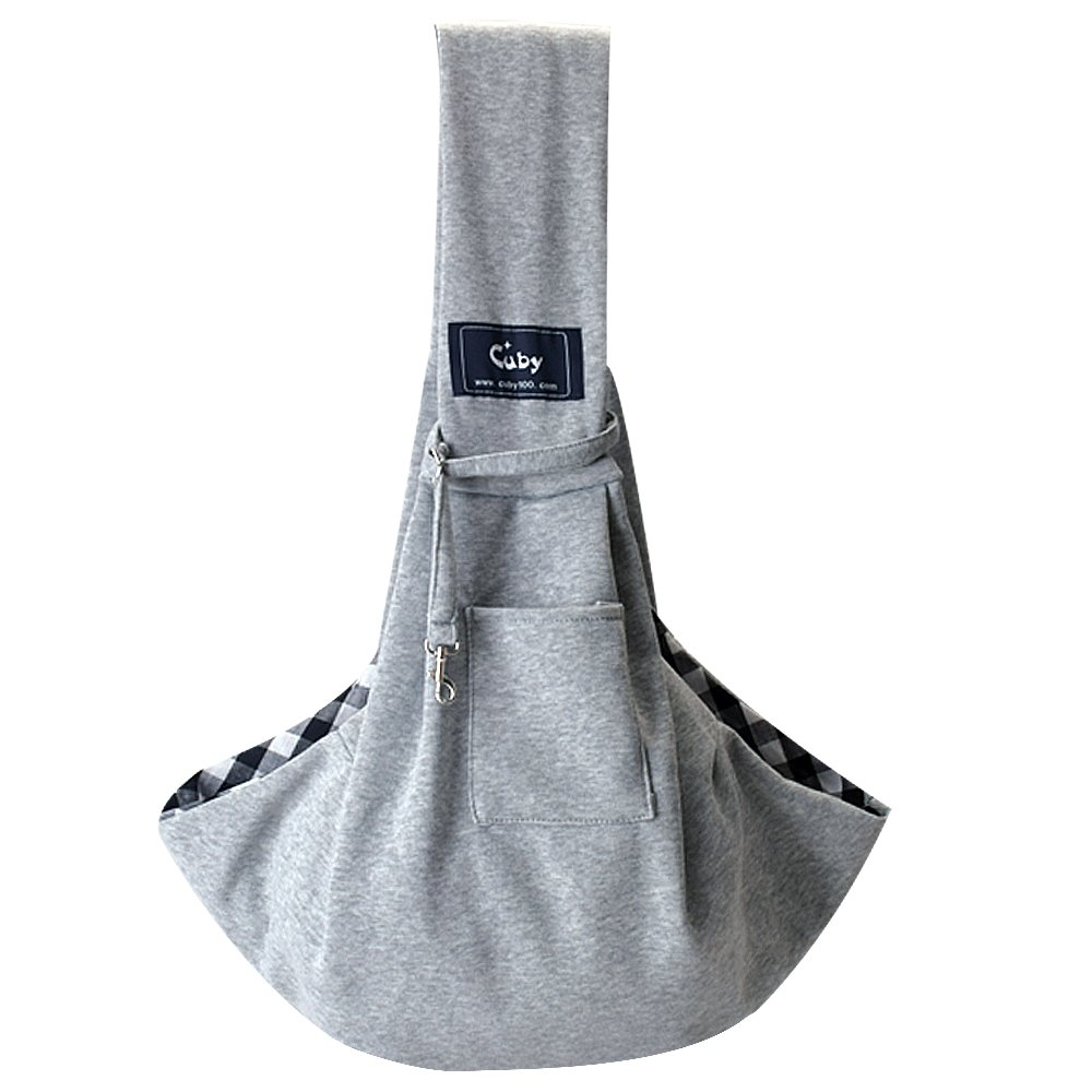 Cuby Hand-Free Revisible Pet Small Dog Sling Carrier Bag (Updated with Adjustable Shoulder Strap) (Grey Adjust) CAP100