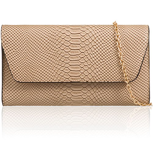 Beige London Bags Long Croc Medium Clutch Leather Prom Party Evening Chain Xardi Faux Ladies Women 6qwdUqB