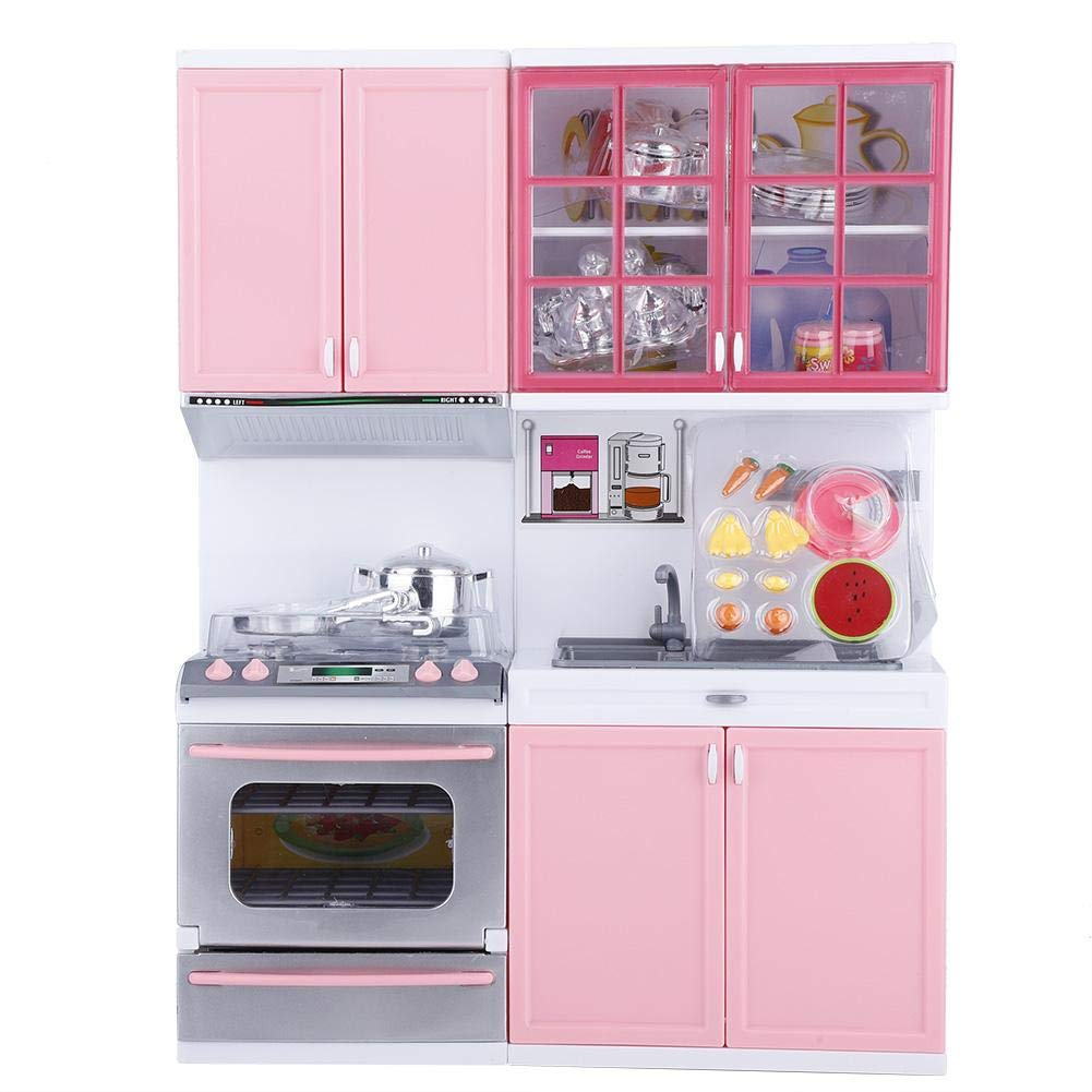 Amazon com garosa kitchen play set kids mini pink kitchen cooking set toy pretend play cookware many optional role playing with lights and sounds toys