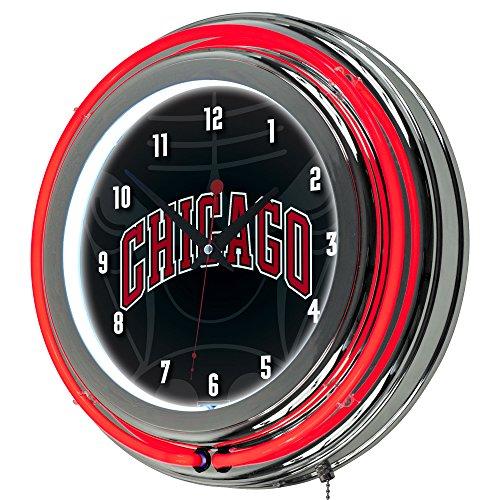 Trademark Gameroom NBA1400-CB2 NBA Chrome Double Rung Neon Clock - Fade - Chicago Bulls