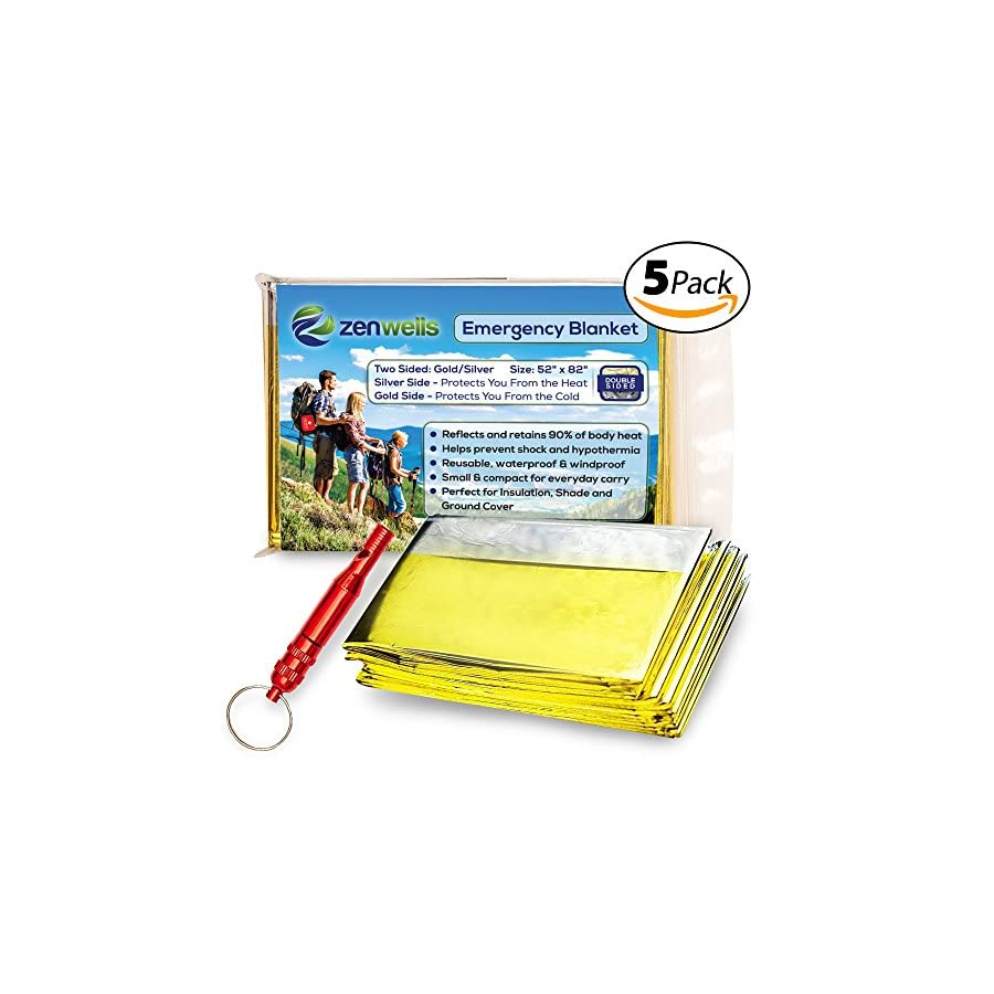 Gold Emergency Solar Blankets 5 Pack Mylar Thermal First Aid Blanket for Emergency Survival Kit, Car Tactical Gear, Outdoor, Hiking, Backpack, Travel, Disaster Preparedness Equipment Plus Whistle!