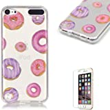 iPod Touch 5th/6th Generation Case Cover [with Free Screen Protector], Funyye See Through Transparent Soft Rubber Silicone Gel TPU Bumper Super Ultra Thin Colourful Pattern Designs Protective Case Cover Skin for Apple iPod Touch 5th/6th Generation - Pink and Purple Donuts