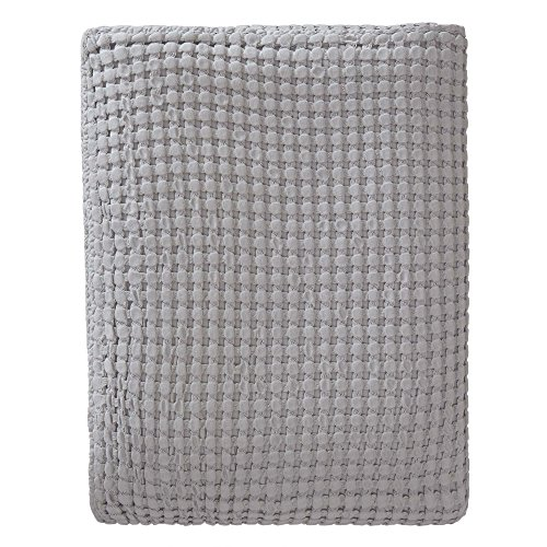 URBANARA Veiros Bedspread - 100% Cotton, Throw-Style Coverlet Blanket Woven in Chunky Waffle Pattern - Soft, Breathable for Cool and Warm Nights - for Queen Size Bed or Couch - 94 x 104, Light Grey (Bedspread Weave Waffle)