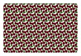Lunarable Country Pet Mat for Food and Water, Cherry Pattern Ripe Fresh Fruit in Floral Country Style Natural Gourmet, Rectangle Non-Slip Rubber Mat for Dogs and Cats, Maroon Green White