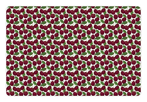Lunarable Country Pet Mat for Food and Water, Cherry Pattern Ripe Fresh Fruit in Floral Country Style Natural Gourmet, Rectangle Non-Slip Rubber Mat for Dogs and Cats, Maroon Green White by Lunarable