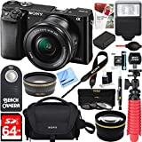 Sony Alpha a6000 24.3MP Wi-Fi Mirrorless Digital Camera + 16-50mm Lens Kit (Black) + 64GB Accessory Bundle + DSLR Photo Bag + Extra Battery+Wide Angle Lens+2x Telephoto Lens+Flash+Remote+Tripod