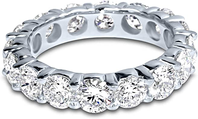14K White Gold Round Diamond Ladies 5 Five Stone Wedding Anniversary Stackable Ring Band Luxury Collection ctw D-E Color VS1-VS2 Clarity 3//4 Carat