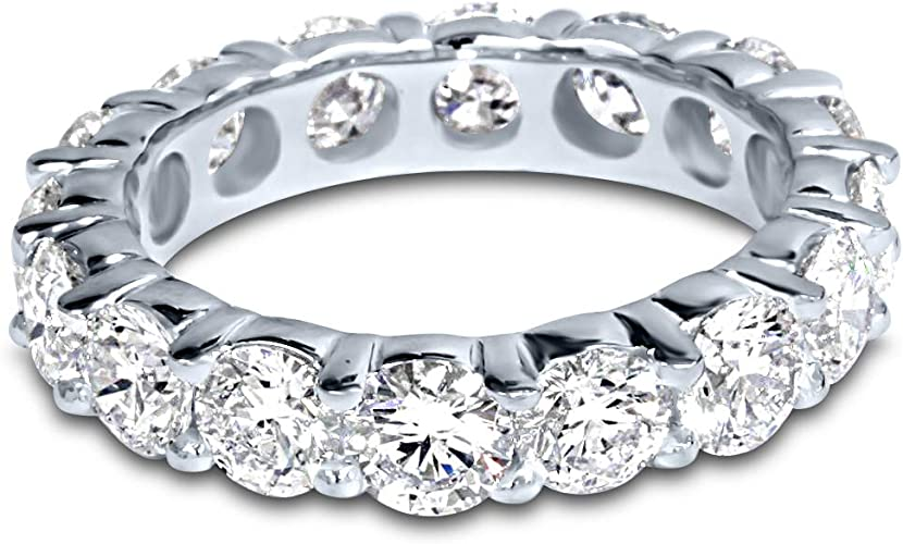 14K White Gold Round Diamond Ladies Eternity Wedding Anniversary Stackable Ring Band Ultra Premium Collection 4 Carat ctw