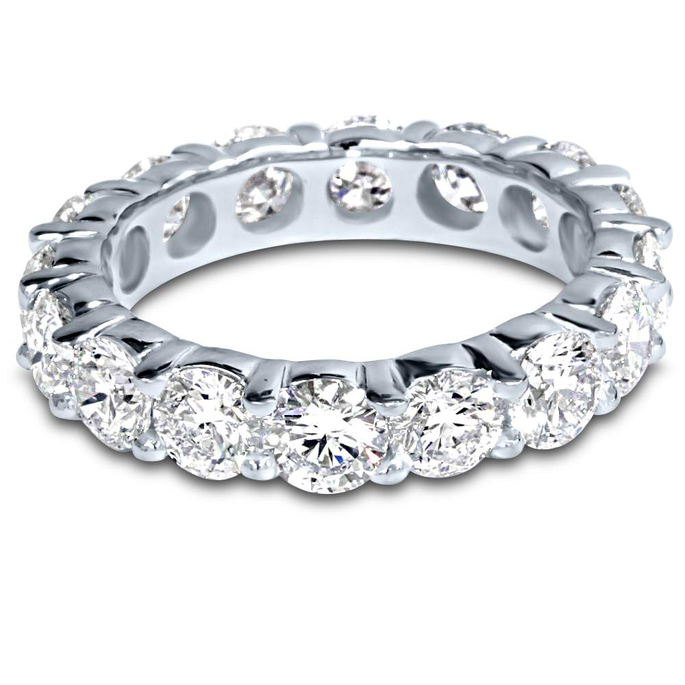 4 Carat (ctw) Platinum Round Diamond Ladies Eternity Wedding Anniversary Stackable Ring Band Luxury Collection (D-E Color VS1-VS2 Clarity) by Houston Diamond District