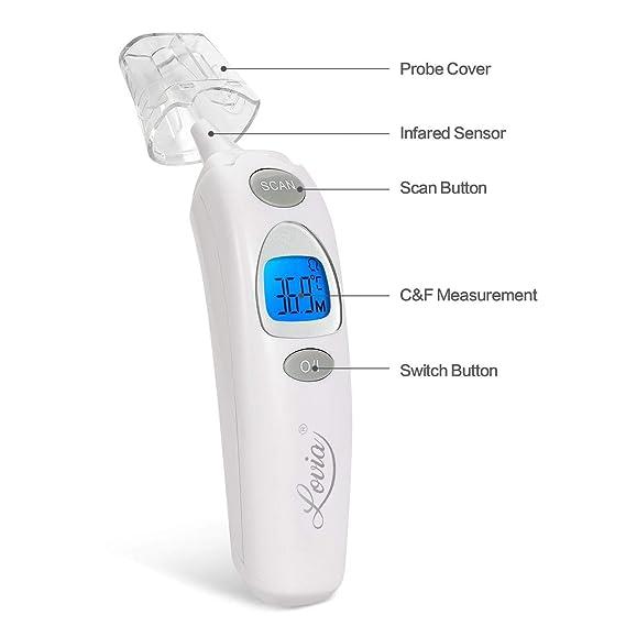 Termómetro digital sin contacto alerta de fiebre, termómetro médico infrarrojo con resultados instantáneos El producto no contiene batería (Grey).