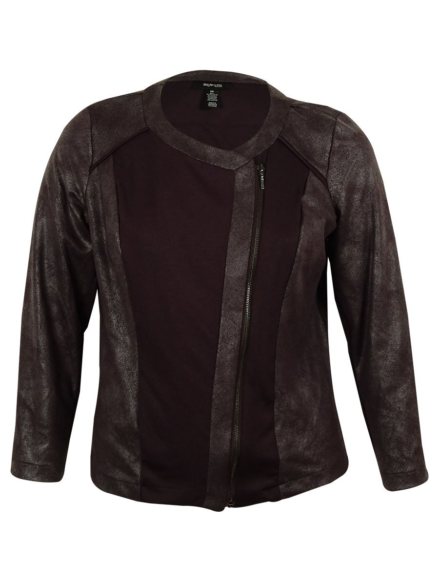 Style & Co. Women's Faux Leather Contrast Jacket (PS, Rhone)