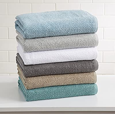 Great Bay Home 100% Cotton, Ultra-Absorbent Popcorn Bath Towels. 6 Elegant Solid Colors. Popcorn Weave. Acacia Collection.