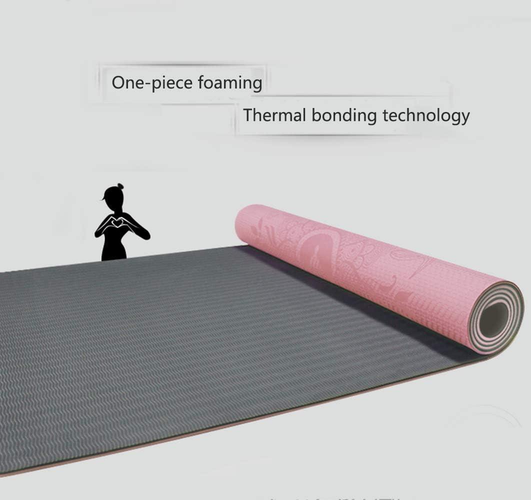 GQHW Yogamatte Dickes rutschfestes weiches gr/ünes TPE 80cm breit mit Body Alignment Linie Pilates Matte Fitness Matte Gymnastik Matte Set,Brown