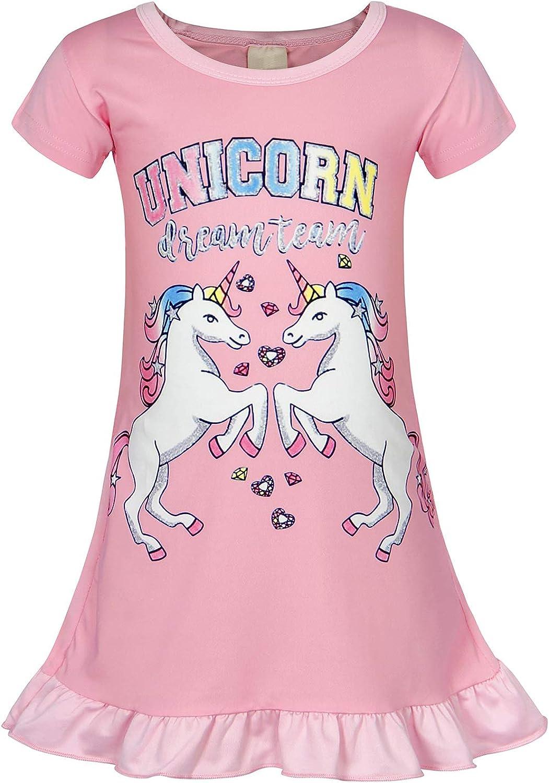 Jurebecia Kids Girls Unicorn Nighties Rainbow Printed Nightdress Short Sleeve Pajama Nightgown Dress Sleepwear Nightie