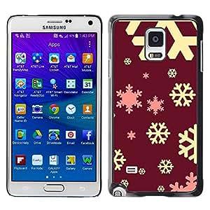 YOYOYO Smartphone Protección Defender Duro Negro Funda Imagen Diseño Carcasa Tapa Case Skin Cover Para Samsung Galaxy Note 4 SM-N910F SM-N910K SM-N910C SM-N910W8 SM-N910U SM-N910 - copo de nieve marrón marrón rosado amarillo