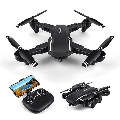 LBLA Drone con Cámara 720P HD Plegable Drone 120º Gran Angular WiFi FPV 2.4Ghz RC Quadcopter Control Remoto 3D Flips Modo sin Cabeza Negro: Juguetes y juegos