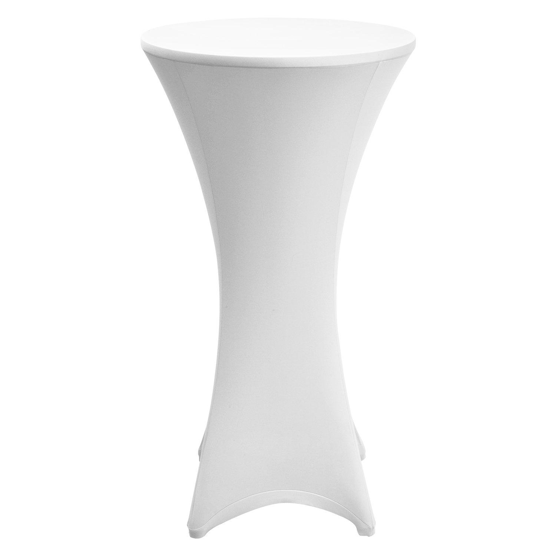 Blanc Mange Debout Deco Cocktail Stretch Spandex Beautissu Lot de 2 Housses de Table Haute de bistrot Stella /Ø 70-75 cm