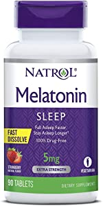 Natrol Melatonin Fast Dissolve Tablets, Helps You Fall Asleep Faster, Stay Asleep Longer, Easy to take, Dissolves in Mouth, Faster Absorption, Strawberry Flavor, 5mg, 90 Count