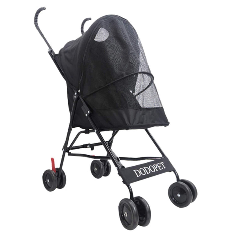 Black Adjusting pet wheelchair Standard pet stroller foldable dog and cat stroller (color   Black)