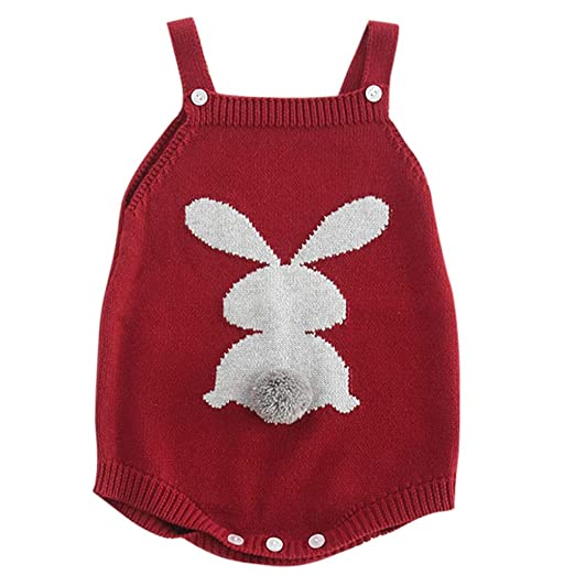 879b65b1b821 Amazon.com  NUWFOR Newborn Baby Girl Knitted Overalls Embroidered Cotton  Romper Bodysuit Clothes  Sports   Outdoors