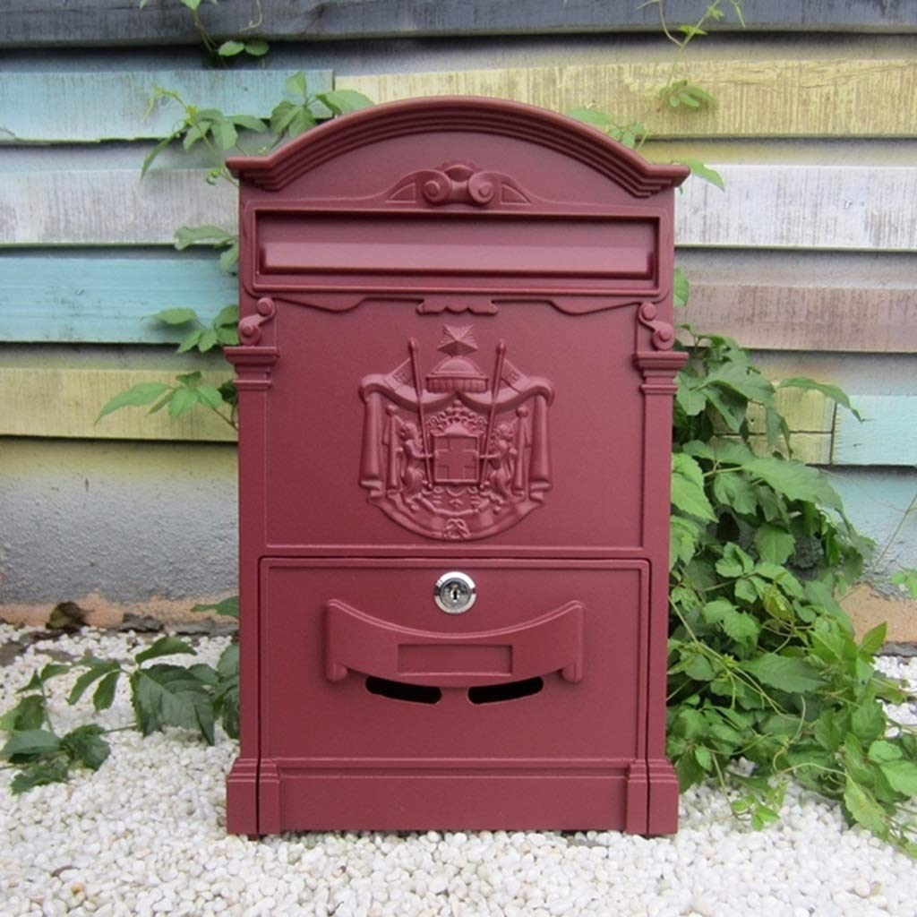 CJH Retro Aristocratic Logo Waterproof Mailbox European Villa Wall Hanging Mailbox Outdoor Creative Postbox with Lock Suggestion Box Wine Red by CJH